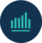 circle icon with bar chart. Link to Data-Driven Insights page