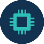 circle icon with microchip. Link to Technology Enablement page